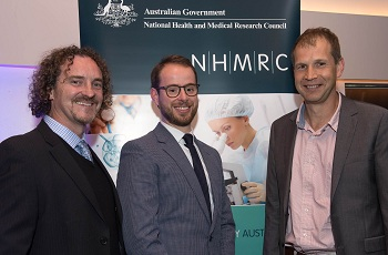 Professor Justin Cooper-White, Dr Joseph Powell (UQ IMB) and Professor Kirill Alexandrov. Image courtesy of NHMRC.