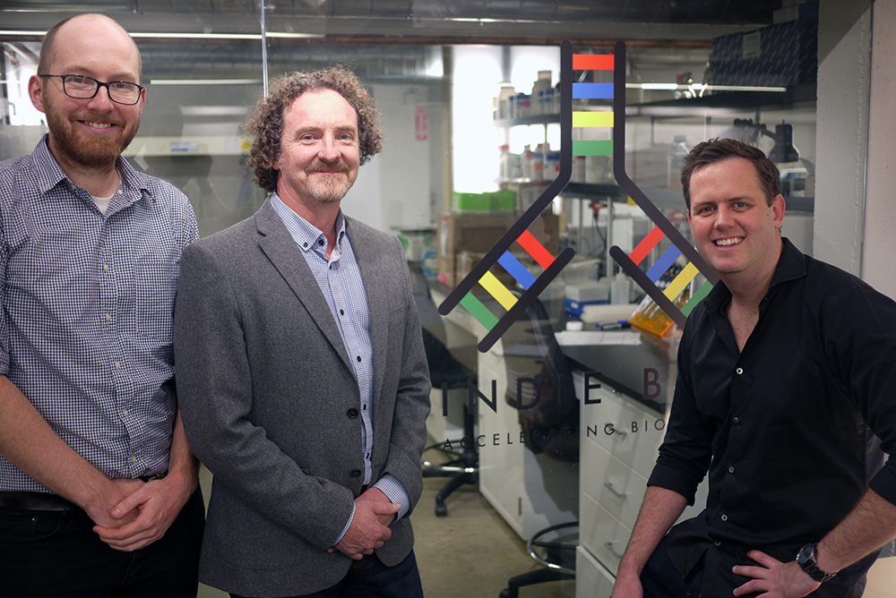 Professor Justin Cooper-White with Scaled Biolabs co-founders Drew Titmarsh (right) and Brendan Griffen (left)