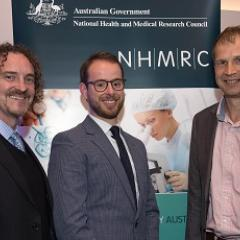 UQ awardees: Professor Justin Cooper-White, Dr Joseph Powell (UQ IMB) and Professor Kirill Alexandrov. Image courtesy of NHMRC.