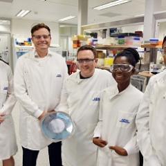 The AIBN research team L-R: Mr Nick Owens, Professor Mark Kendall, Dr David Muller, Ms Christiana Agyei, and Dr Germain Fernando.