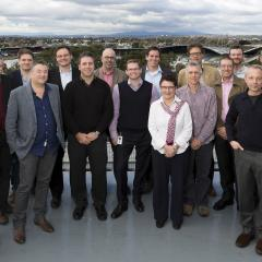 Group shot of the chief investigators including AIBN's Mark Kendall, Andrew Whittaker, Simon Corrie, Kris Thurecht, and IMB's Rob Parton.