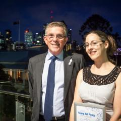 Dr Claudia Vickers and Science Minister Ian Walker at the 2014 Science Celebration ceremony